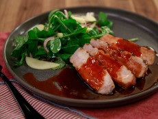 Cantonese Sweet and Sticky BBQ Pork Chops with Apple and Arugula Salad