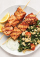 Grilled Salmon Kebabs with Kale Tabbouleh