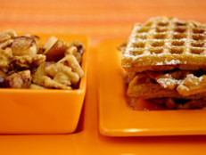 Pumpkin Waffles with Maple Walnut Apples