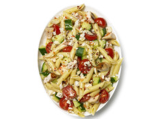 Pasta Salad with Chicken, Cucumber, Cherry Tomatoes and Feta