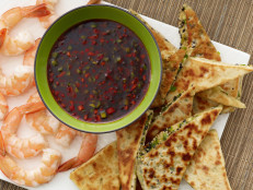 Sesame-Scallion Flatbread and Shrimp with Sweet-and-Spicy Dipping Sauce