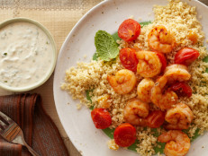 Shrimp and Couscous With Yogurt-Hummus Sauce