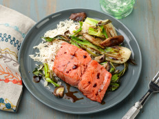 30-Minute Pan-Seared Salmon with Baby Bok Choy and Shiitake Mushrooms