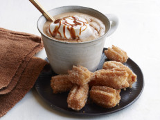 Mini Churros with Dulce de Leche Hot Chocolate