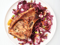 Pork Chops with Pear-Pecan Slaw