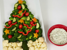 Crudite Christmas Tree with Sour Cream and Chive Dip