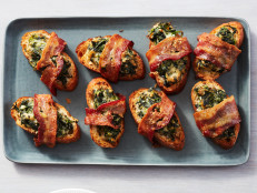 Bacon-Wrapped Spinach Dip Crostini