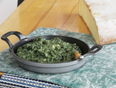 Creamed Spinach with Pickled Onions and Raclette Cheese