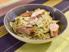 Spinach, Walnut and Golden Raisin Pesto Pasta with Italian Chicken Sausage