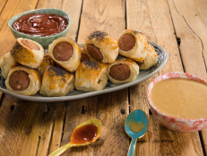 Pigs in Blankets with Harissa Ketchup and Honey Mustard
