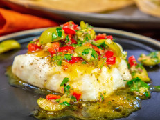 Grouper or Halibut Steamed in Parchment with Martini Relish and Sour Orange Sauce