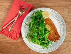 Flounder Milanese with Herbed Salad and Bacon Vinaigrette