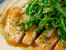 Apricot Chicken with White Bean Puree and Arugula