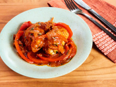 Braised Chicken Thighs with Tomatoes, Peppers and Onions