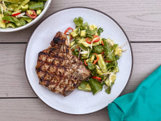 Grilled Pork Chops with Smashed Cucumbers and Green Curry Vinaigrette