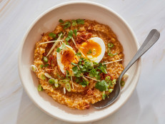 Butternut Squash Congee with Crispy Shallots and Soft-Boiled Eggs