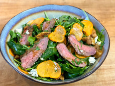 Steak and Persimmon Salad with Honey Balsamic Vinaigrette