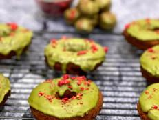 Raspberry Doughnuts with Matcha Glaze