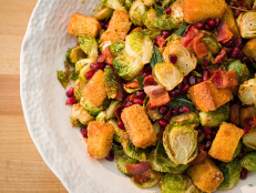Fried Brussels Sprouts with Bacon and Brown Butter Croutons