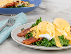 Ree's Lower Carb Kale Eggs Benedict