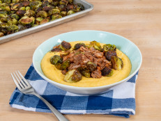 Pressure Cooker Pulled Pork with Roasted Brussels Sprouts and Cheese Grits