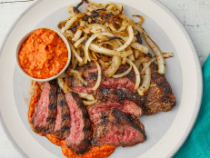 Garlic Rubbed Skirt Steak and Vidalia Onions with Peanut Romesco