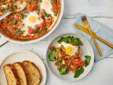 Skillet-Baked Eggs in Tomato Gravy with Spinach