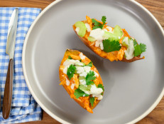 Buffalo Chicken Twice-Cooked Sweet Potatoes