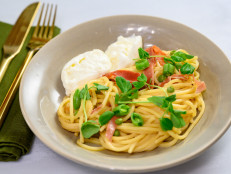 Pasta alla Chitarra with Burrata-Speck-Pea Sauce