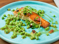 Peas and Pancetta with Salmon