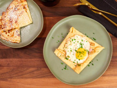 Buckwheat Crepes with Ham, Gruyere and Fried Egg