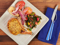 Mustard-Crusted Pork Chops with Roasted Apples and Onions