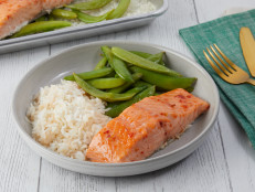 Sweet Chili-Glazed Salmon with Sugar Snaps and Rice