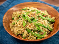 Quinoa with Snap Peas and Pepita-Mint Pesto