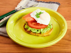 Corn Cakes with Avocado, Tomato, Poached Egg, and Smoked Salmon