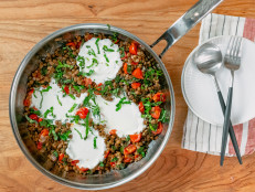 Herbed Lentil Skillet with Spinach, Tomato and Ricotta