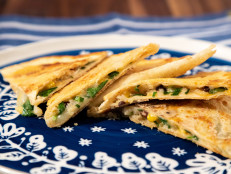 One-Pan Parmesan-Crusted Vegetable Quesadillas