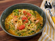 Zoodles with Spicy Garlic-Miso Shrimp