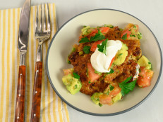 Mexican Quinoa Cakes with Avocado Tomato Salsa and Lime Cream