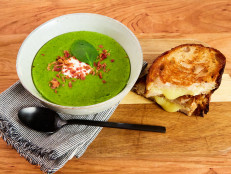 Split Pea Soup with Bacon and Crispy White Cheddar Grilled Cheese