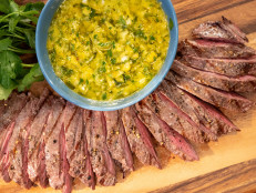Grilled Steak with Yellow Pepper Chimichurri