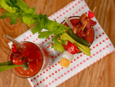 Everybody's Bloody Mary with Curly Candied Bacon Skewer