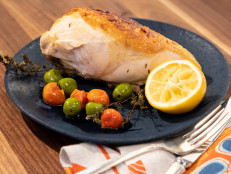 Roast Chicken Breasts with Caramelized Lemons, Cherry Tomatoes and Olives