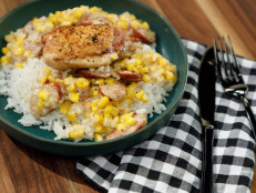 Crispy Chicken with Corn and Sausage