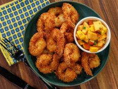 Coconut Shrimp with Mango-Peach Salsa