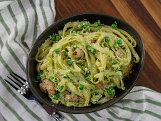 Tagliatelle with Peas, Sausage, Ricotta and Classic Genovese Pesto