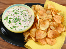 Homemade Rosemary Potato Chips with Charred Onion Dip