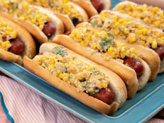 Hot Dogs with Charred, Cheesy Chili-Lime Corn Topping