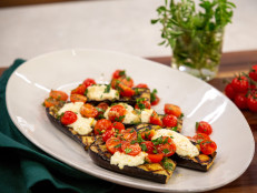 Grilled Baby Eggplants with Fresh Ricotta and Cherry Tomato Relish