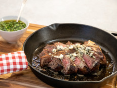 Porterhouse Steak with Brown Butter, Blue Cheese and Chimichurri